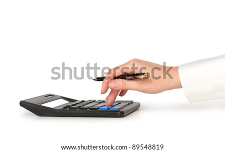 hand with pen counting on calculator isolated on white - stock photo
