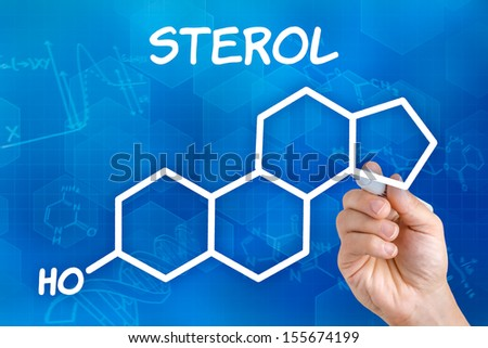 Hand with pen drawing the chemical formula of sterol - stock photo