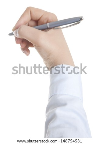 Hand with pen isolated on white - stock photo