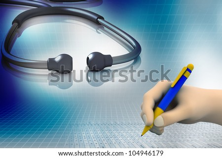 Hand with pen over Prescription with stethoscope - stock photo