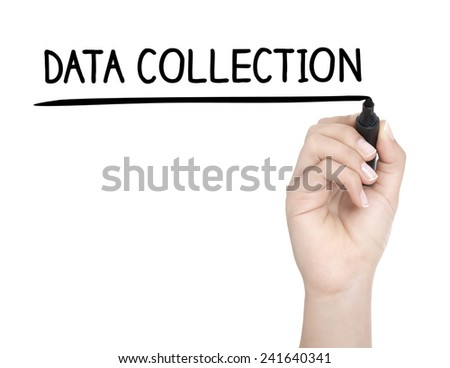Hand with pen writing DATA COLLECTION on whiteboard - stock photo