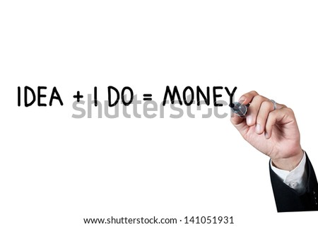 Hand with pen writing money concept on whiteboard - stock photo