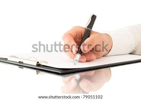 hand with pen writing on clipboard and reflection - stock photo
