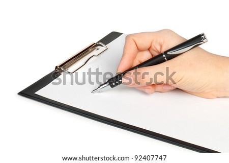 hand with pen writing on clipboard isolated on white background - stock photo