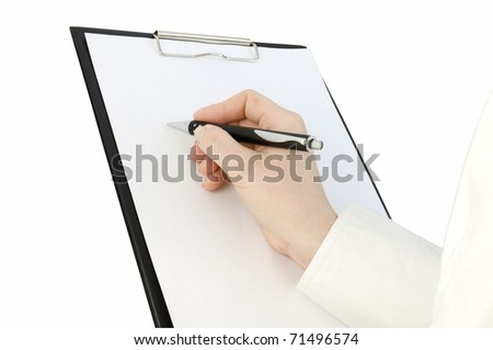hand with pen writing on the clipboard and white page on it - stock photo