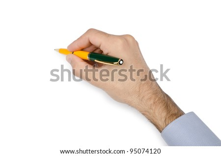 Hand with pen writing on white - stock photo