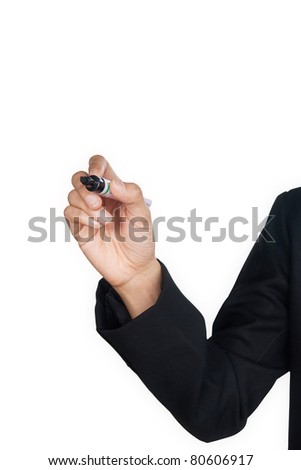Hand with pen writing on whiteboard concept - stock photo