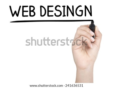 Hand with pen writing WEB DESINGN on whiteboard - stock photo