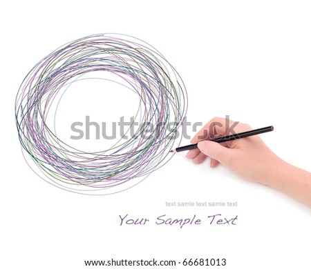 Hand with pencil and graphic - stock photo