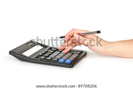 hand with pencil counting on calculator isolated on white - stock photo