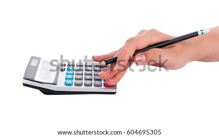 hand with pencil counting on calculator isolated on white background