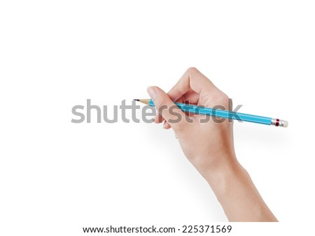 Hand with pencil drawing action on white background. - stock photo