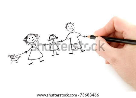 hand with pencil drawing happy family on the white  page - stock photo
