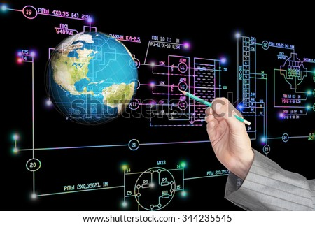 Hand with pencil,industrial electrical engineering scheme,globe planet - stock photo