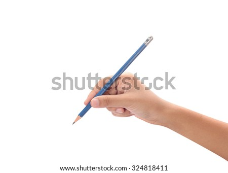 Hand with pencil write acting isolated on white background with clipping path. - stock photo