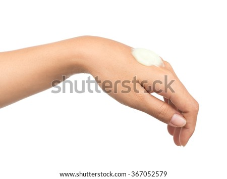 hand with perfect moisturizer cream isolated on a white background