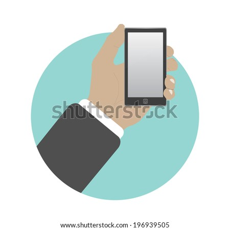 Hand with phone in flat design. Raster version - stock photo