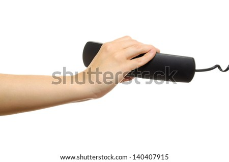 Hand with Phone Receiver on White Background