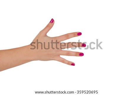 Hand with pink nail polish isolated on white background - stock photo
