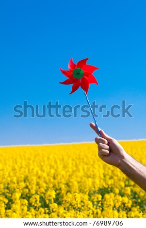 hand with pinwheel  in a field of yellow rapeseed against the blue sky - stock photo