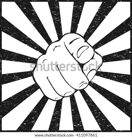 Hand with pointing finger on white and black grunge background, illustration. - stock photo