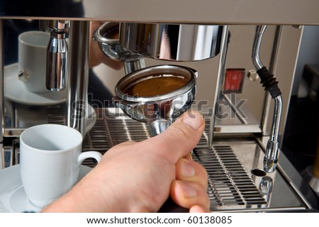 hand with portafilter, - stock photo