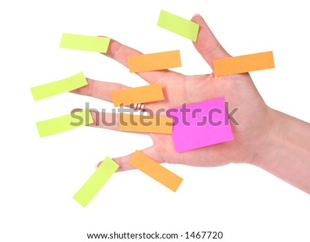 Hand with post-it notes - stock photo