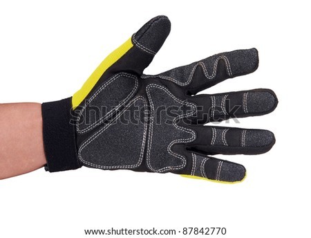 hand with protective glove isolated on white - stock photo