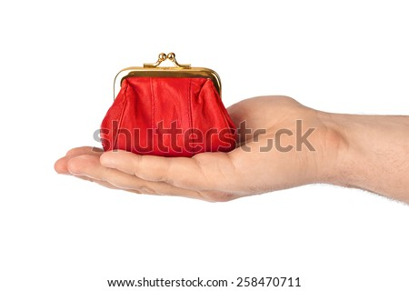 Hand with purse isolated on white background - stock photo