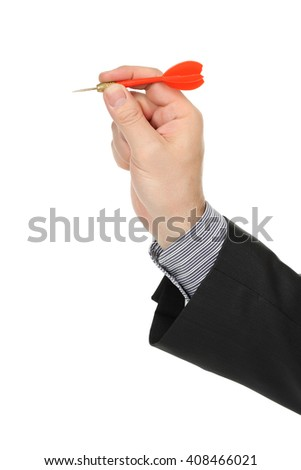 hand with red dart isolated on white - stock photo