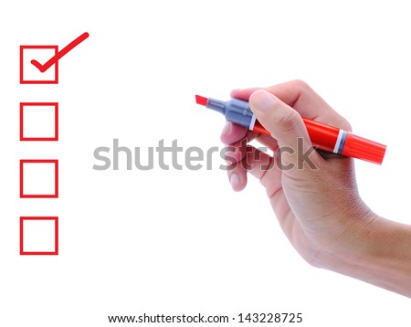 Hand with red marker pen and check list box - stock photo