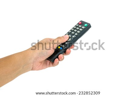 hand with remote control on white background - stock photo