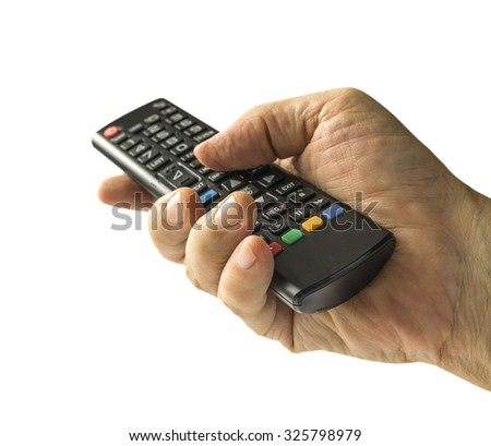 Hand with remote control pointing forward, isolated on white background