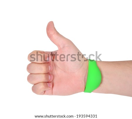 hand  with RFID Bracelet on a white background - stock photo