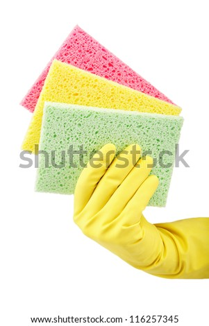Hand with rubber glove and cleaning sponge on white background