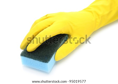 Hand with rubber glove and cleaning sponge on white background - stock photo