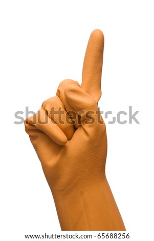 hand with rubber glove  forefinger up - stock photo