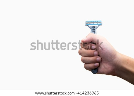 Hand with shaving razor on a white background