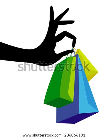Hand with shopping bag  - stock photo