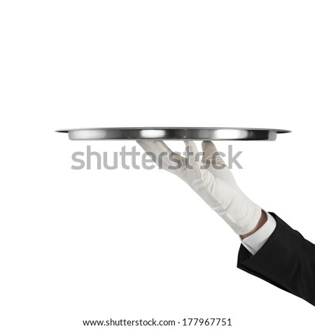 hand with silver plate isolated on a white background - stock photo