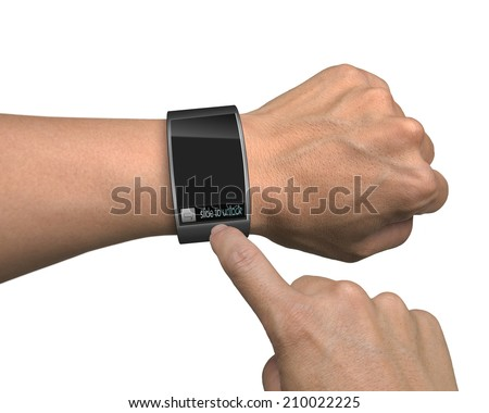 hand with smart watch and finger touch screen isolated in white background - stock photo