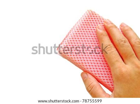 hand with sponge isolated - stock photo