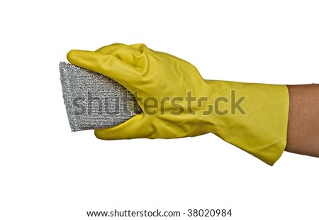 Hand with sponge isolated on white background