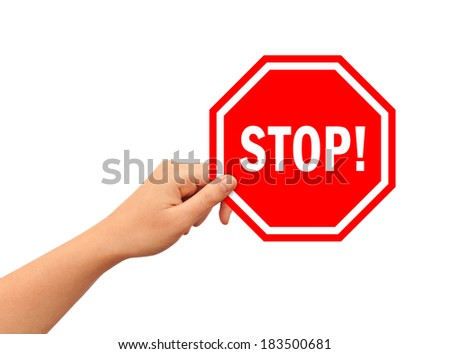 Hand with stop illustrated sign - stock photo