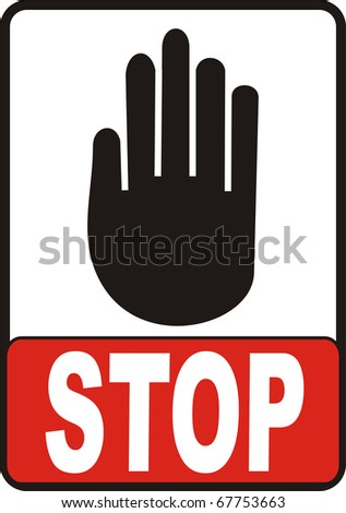 Hand With Stop Sign illustration image isolated on white