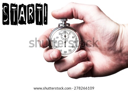 Hand with stopwatch & text start - stock photo
