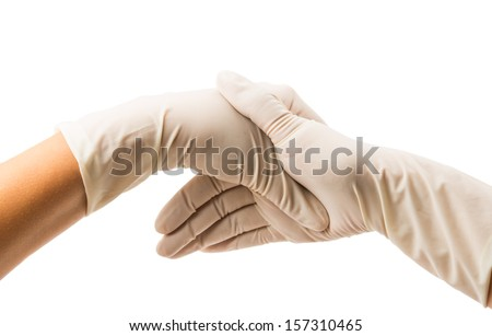 Hand with Surgical Gloves on white background, medical concept - stock photo