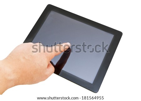 Hand with tablet computer, isolated on white background