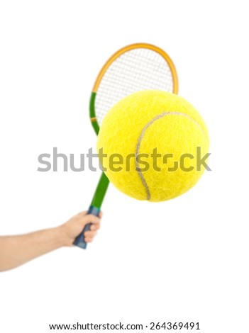Hand with tennis racket and ball isolated on white background