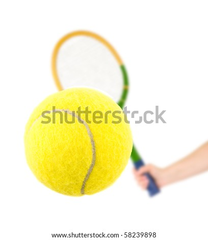 Hand with tennis racket and ball isolated on white background - stock photo